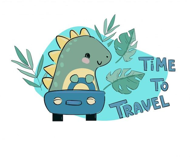 Dinosaurus rijdt op een auto en tropische bladeren met handgeschreven tekst tijd om te reizen schattige kinderachtige illustratie print vector