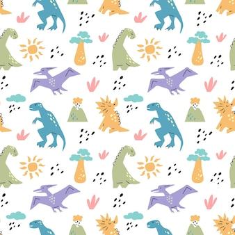 Dinosaurus schattig naadloze patroon met zon baobab boom vulkaan tak geïsoleerd op wit