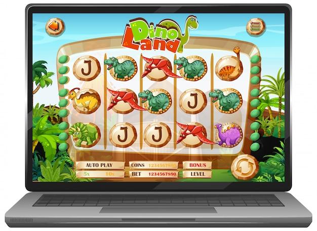 Dinosaurus spel op laptop scherm