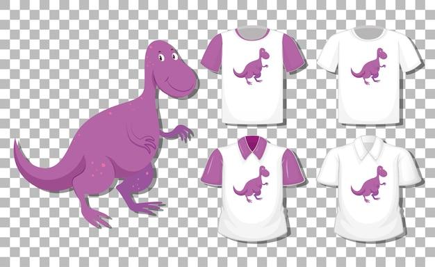 Dinosaurus stripfiguur met set van verschillende shirts geïsoleerd
