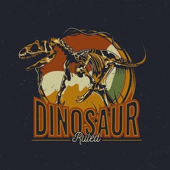 Dinosaurus thema t-shirt labelontwerp met illustratie van oude dinosaurusbeenderen