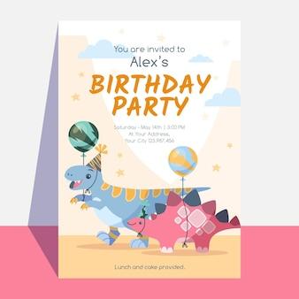 Dinosaurus verjaardagspartij uitnodiging sjabloon