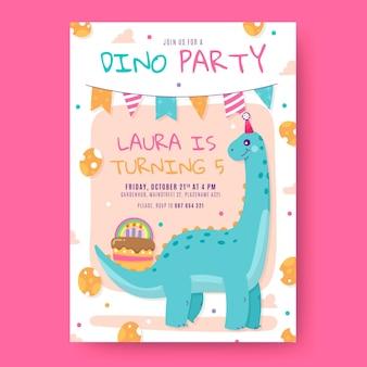 Dinosaurus verjaardagsuitnodiging