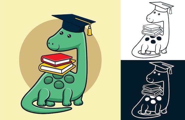 Dinosaurusbeeldverhaal die afstudeerhoed draagt terwijl hij boeken op zijn rug draagt.
