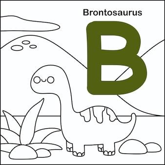 Dinosauruskleuring met alfabet b.
