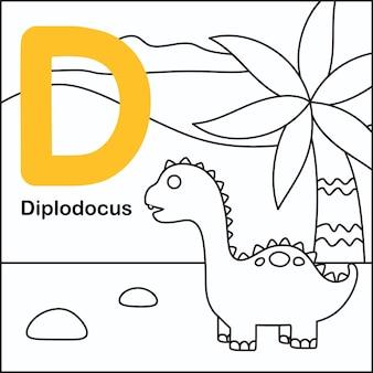 Dinosauruskleuring met alfabet d