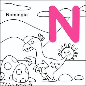 Dinosauruskleuring met alfabet n
