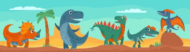 Dinosaurussen, bergen, palm, cactus en lucht met wolken. kleurrijke platte illustratie op panorama woestijn. ontwerp voor t-shirt of web. voor horizontale banner
