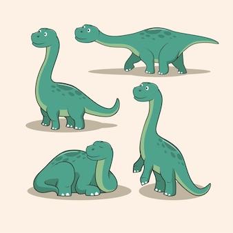 Dinosaurussen brontosaurus cartoon set
