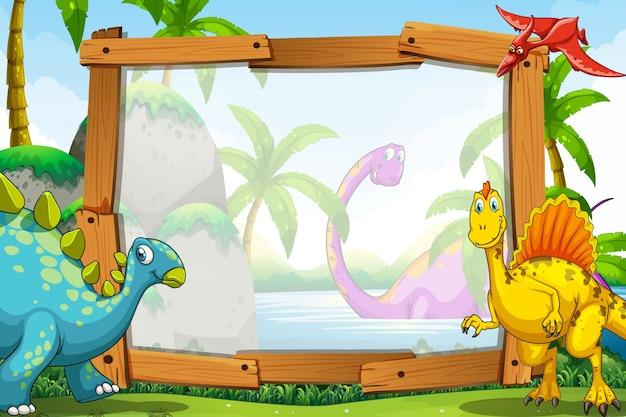 Dinosaurussen door het houten frame
