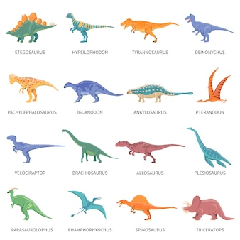 Dinosaurussen gekleurde geïsoleerde icons set