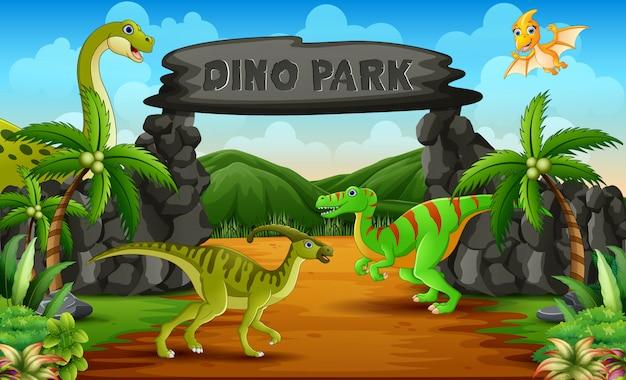 Dinosaurussen in een illustratie van de het parkingang van dino