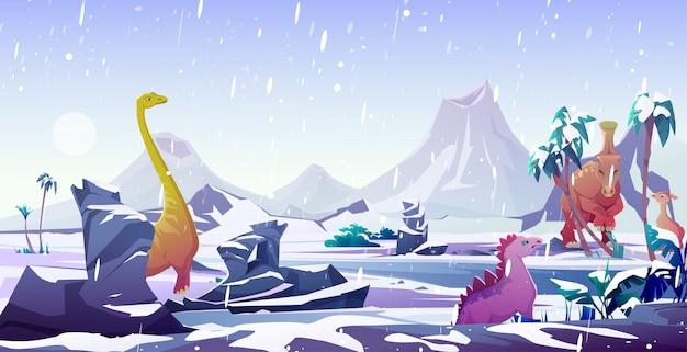 Dinosaurussen in ijstijd. dieren uitsterven door kou