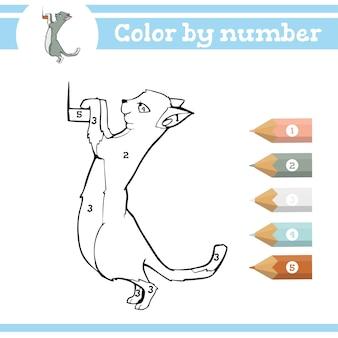 Dinosaurussen kleuren op nummer kleurplaat voor kleuters leren cijfers voor kleuterscholen