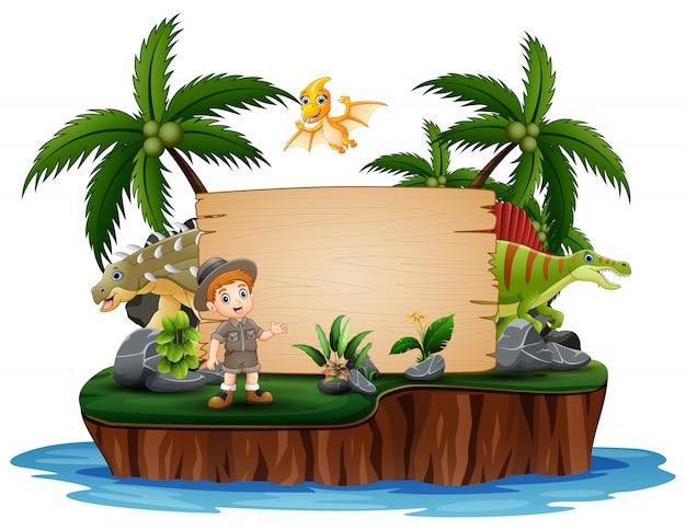 Dinosaurussen met dierenverzorger op eiland
