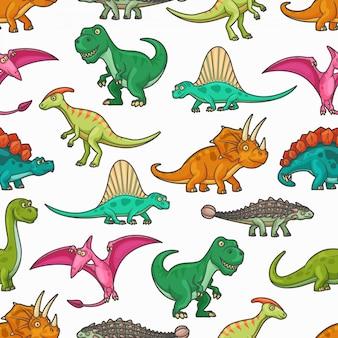 Dinosaurussen naadloze patroon van jura dieren