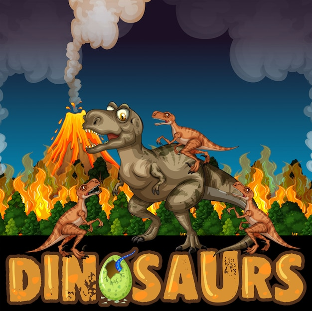 Dinosaurussen rennen weg van vulkanen en bosbranden