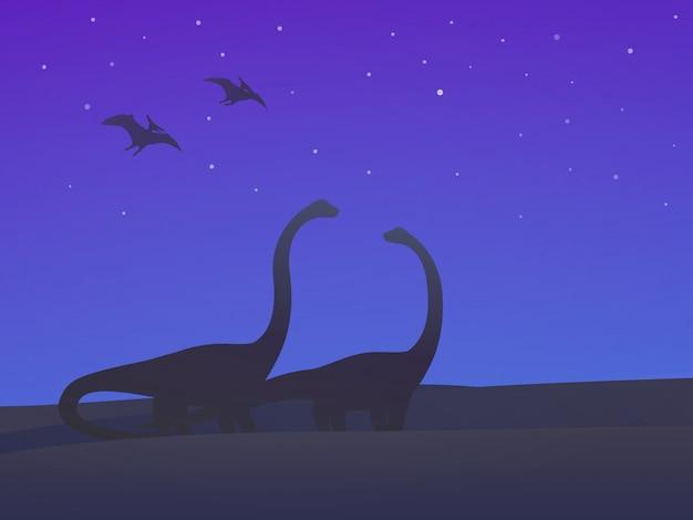 Dinosaurussen, sauropoden en pterodactylen 's nachts