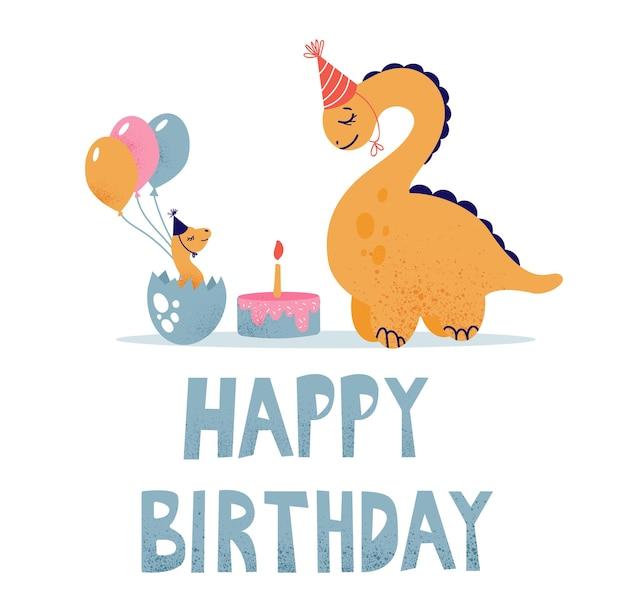 Dinosaurussen vieren hun verjaardag met een taart en ballonnen