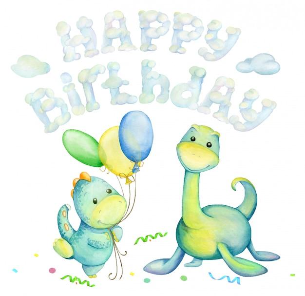 Dinosaurussen zijn groen, ballonnen, wolken, tekst, gelukkige verjaardag. waterverf