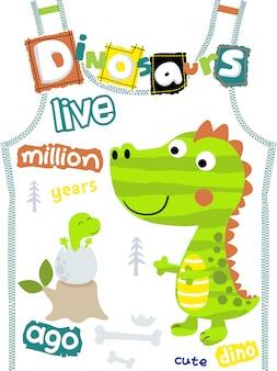 Dinosaurussenbeeldverhaal op t-shirtmalplaatje