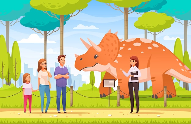 Dinosaurussenpark met familie en een illustratie van de gidscartoon