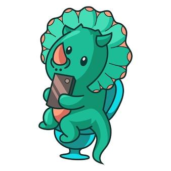 Dinosauruszitting op badkamerszetel en telefoon in hand houden.