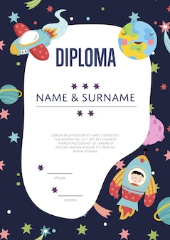 Diploma cartoon sjabloon