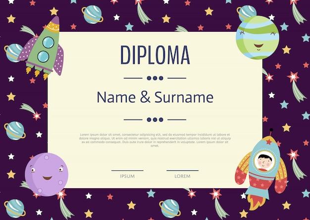 Diploma cartoon vector sjabloon