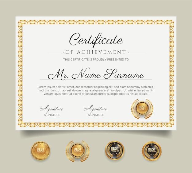 Diploma certificaat grenssjabloon met gouden lijntekeningen en badges