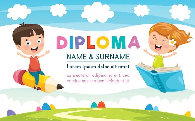 Diploma certificaatsjabloon ontwerp voor kinderen onderwijs