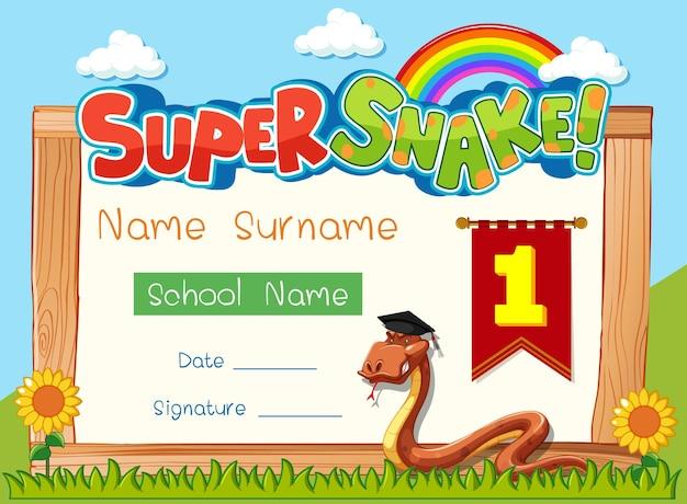 Diploma- of certificaatsjabloon voor schoolkinderen met super slang stripfiguur