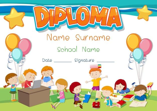 Diploma- of certificaatsjabloon voor schoolkinderen