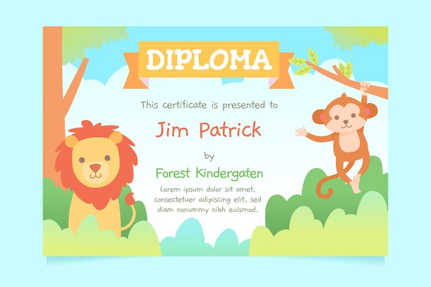 Diploma ontwerpsjabloon voor kinderen