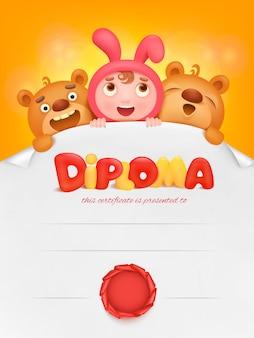 Diploma sjabloon certificaat met leerling meisje en teddybeer.