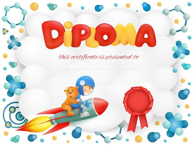 Diploma sjabloon certificaat met ruimtevaarder jongen en teddybeer.