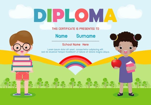 Diploma sjabloon voor kinderen certificaten kleuterschool en elementair Premium Vector