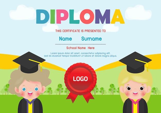 Diploma sjabloon voor kinderen certificaten kleuterschool en elementair