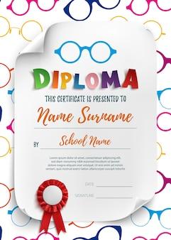 Diploma sjabloon voor kinderen illustratie