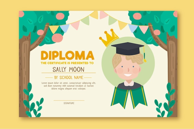 Diploma sjabloon voor kinderen