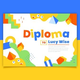 Diploma sjabloonthema voor kinderen