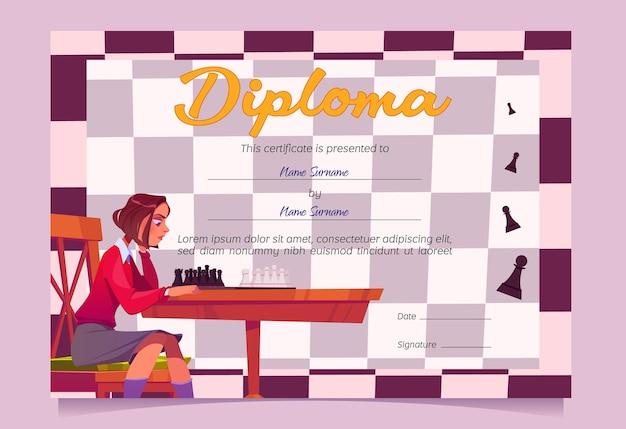 Diploma voor schaakwinnaar of toernooideelnemer