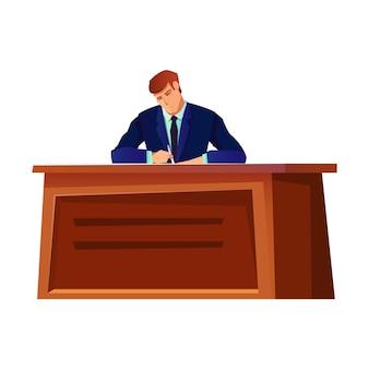 Diplomaat zit aan bureau op wit