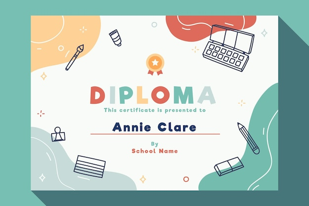 Diplomamalplaatje voor kinderen met elementen