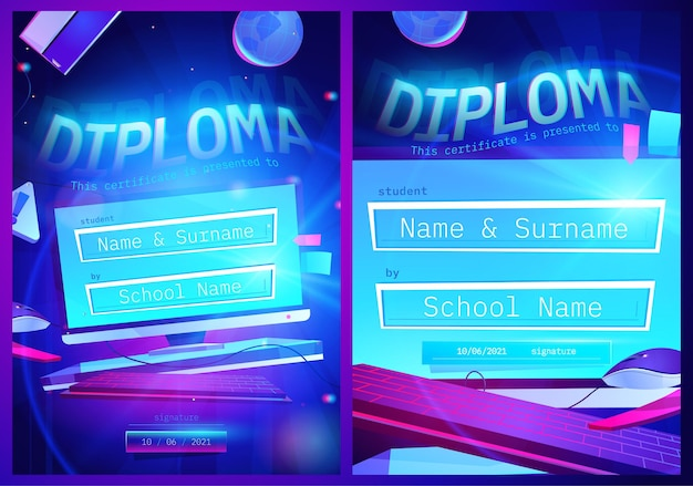 Diplomasjabloon met cartoon computerscherm