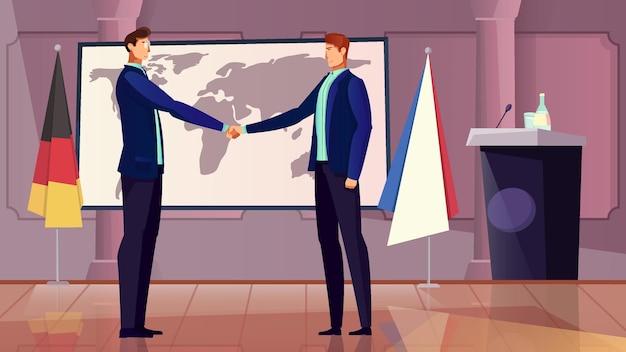 Diplomatie en samenwerking met duitsland en frankrijk symbolen plat
