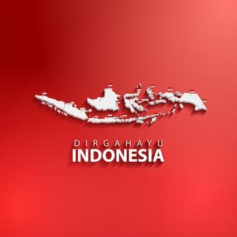 Dirgahayu indonesië of indonesië onafhankelijkheidsdag banner achtergrond met 3d-kaart en rode kleur