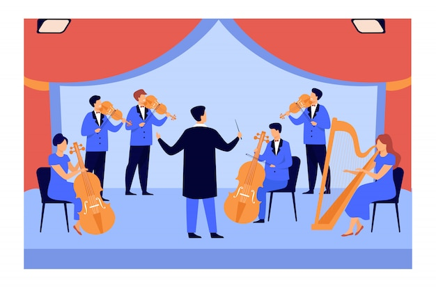 Dirigent en muzikanten spelen op viool, harp en cello