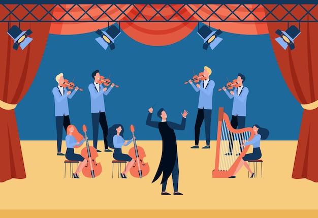 Dirigent en muzikanten staan op de vlakke afbeelding van het theaterpodium. cartoon mensen spelen viool, cello en harp.