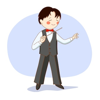 Dirigent van een symfonieorkest. een man in pak met een dirigeerstok in zijn hand.